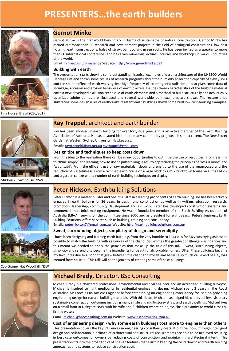 Presenters And Programme Earth Building Association Of Australia Click Image To See Larger View A The Content Below Page Twice You Can Also Print Pdf Version Here 3 Day Conference